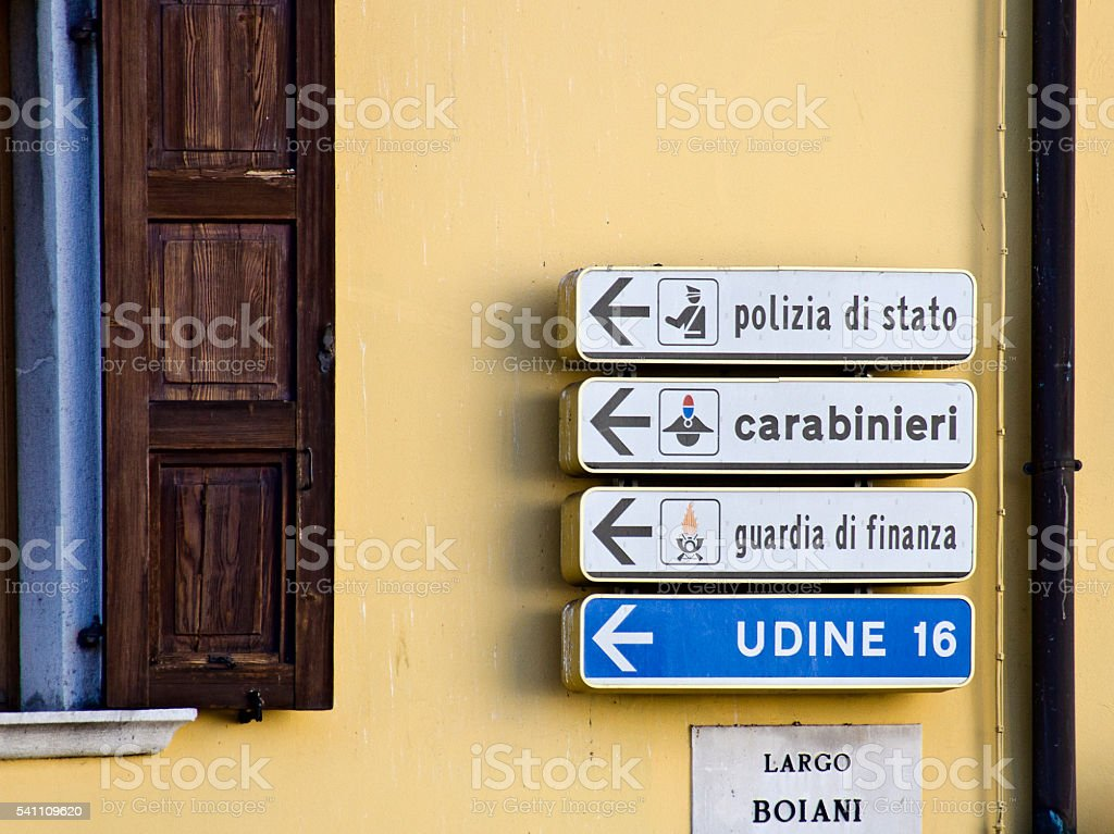 direction sign to police departments stock photo