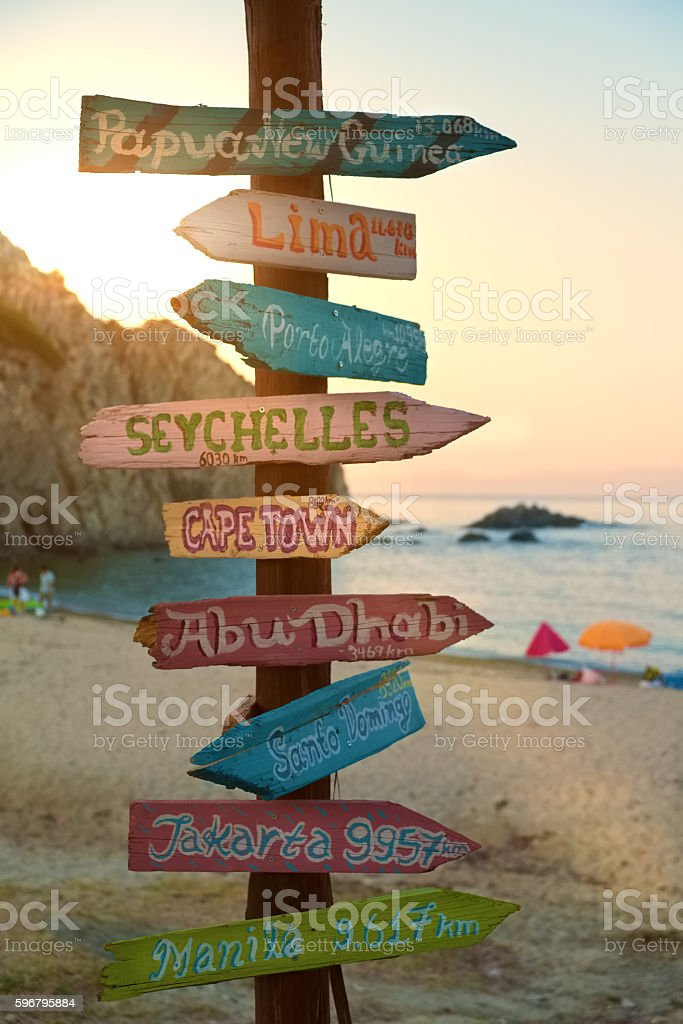 Direction signpost with distance to many different cities stock photo