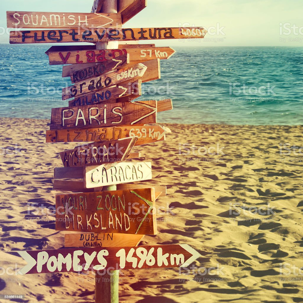 Direction signpost with distance to many different countries stock photo
