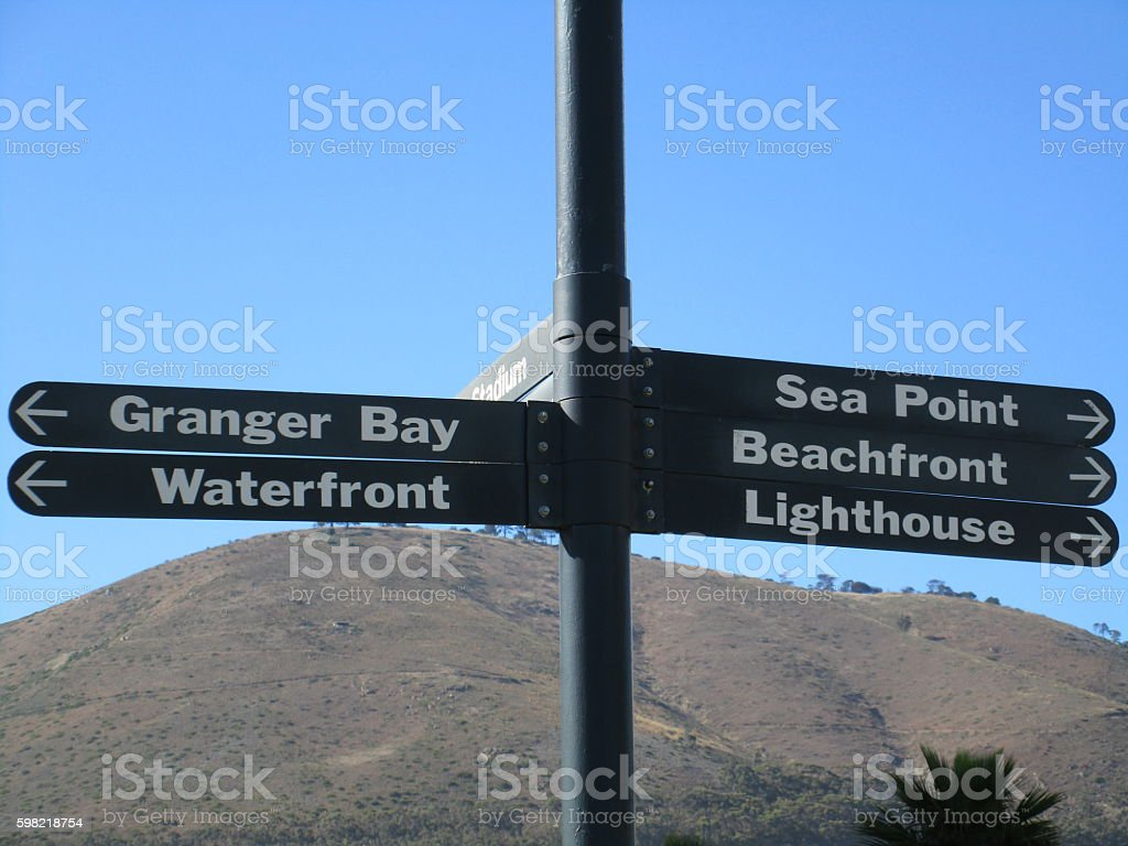 direction signs in Capetown stock photo