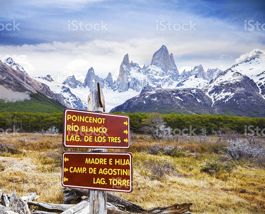 Direction signs in Los Glaciares National Park, Argentina. stock photo