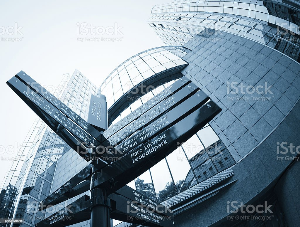 Direction Street route of European Parliament in Brussels stock photo