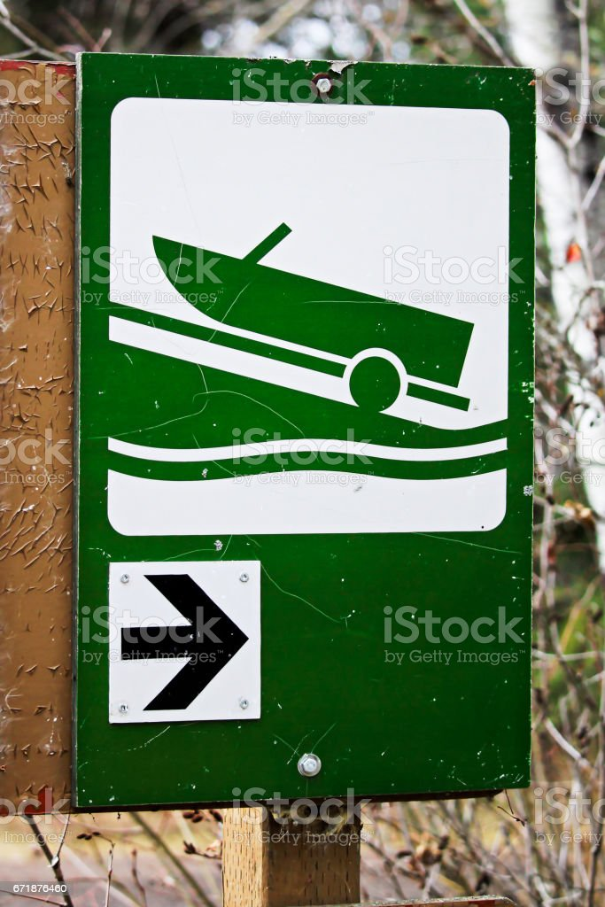 Direction to boat launch sign stock photo