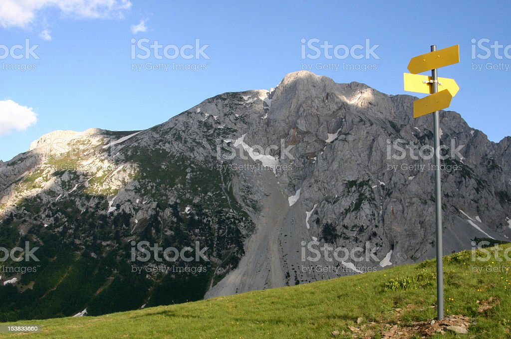 direction to different mountain peaks royalty-free stock photo