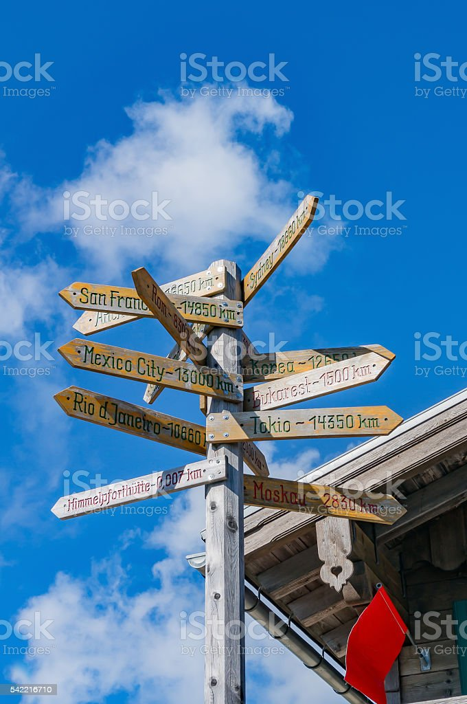 Direction to different places of the world stock photo