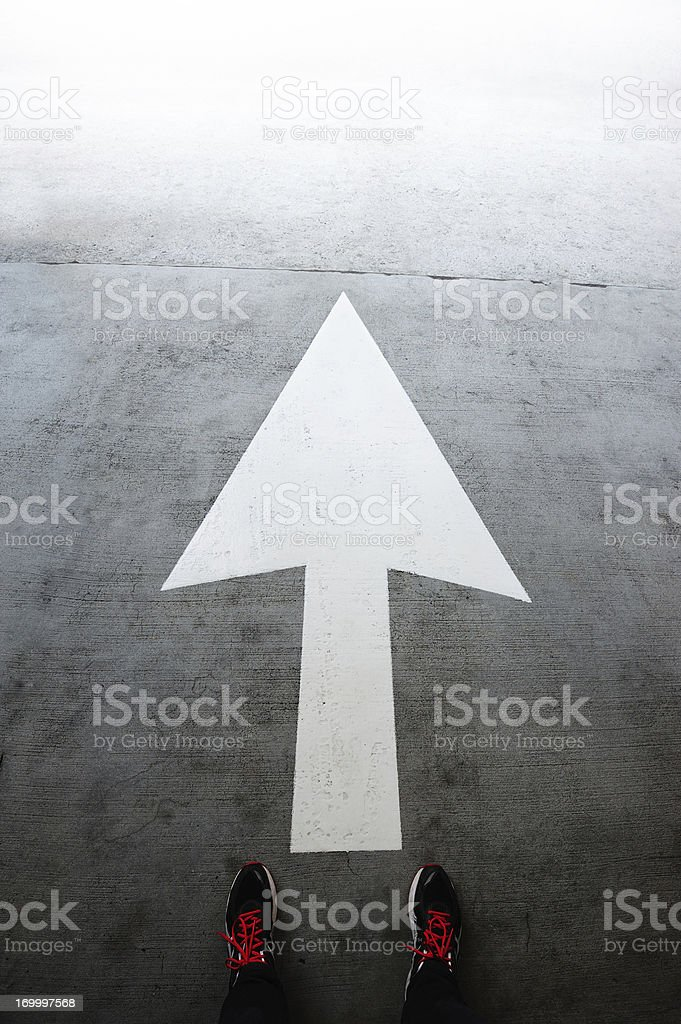 Directional arrow pointing forward royalty-free stock photo