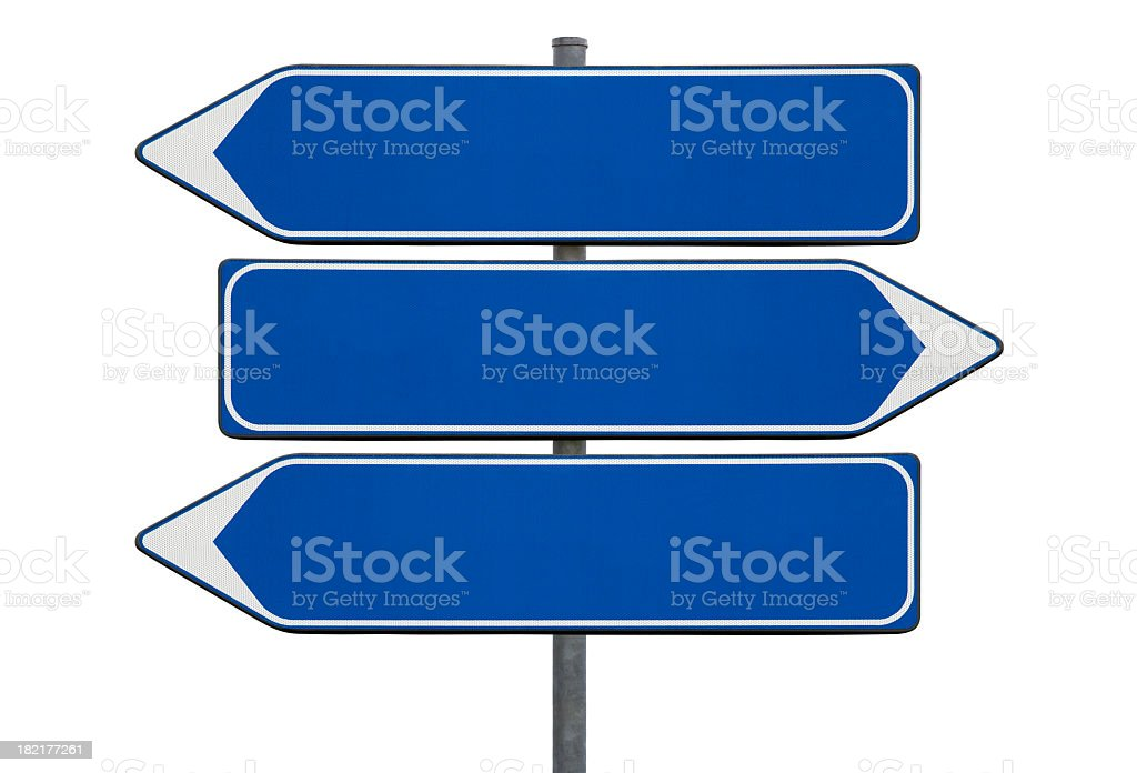 Directional blank blue signs on a white background stock photo