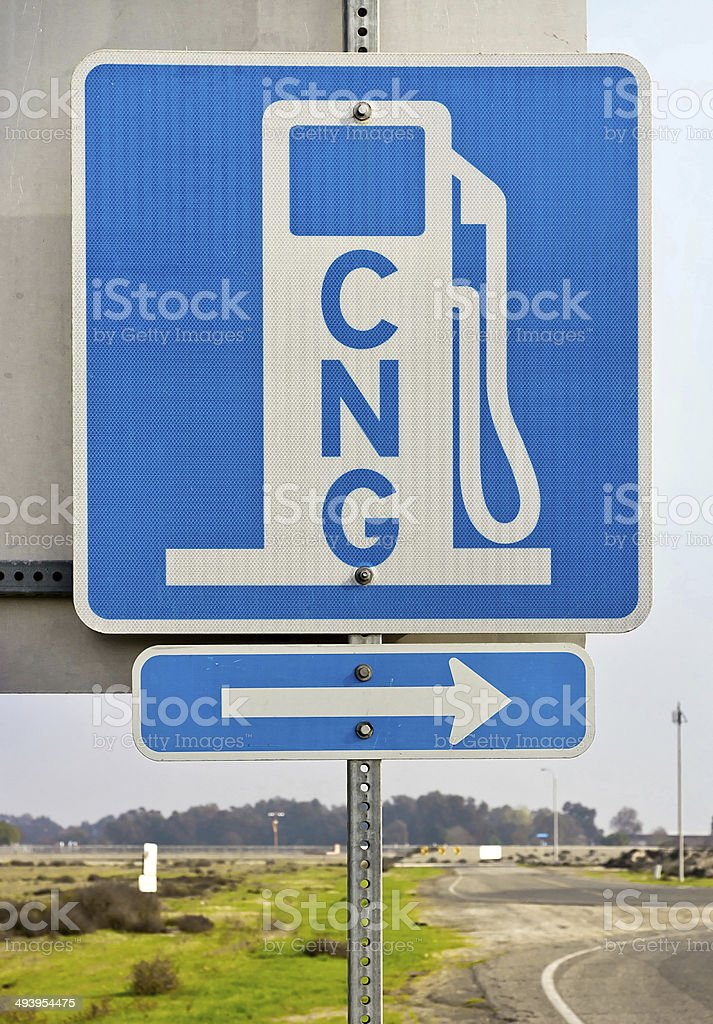 Directional CNG Sign stock photo