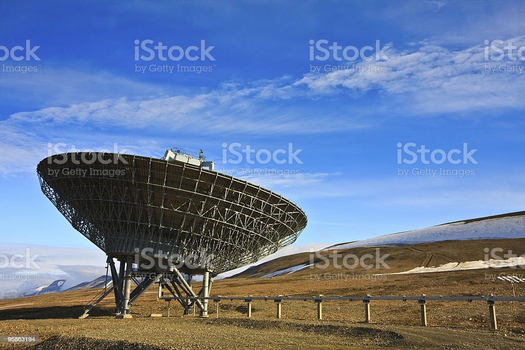 Directional Radio Antenna On Hillside stock photo
