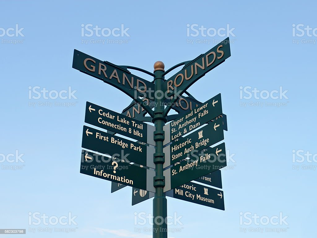 Directional Sign at the Stone Arch Bridge in Minneapolis stock photo