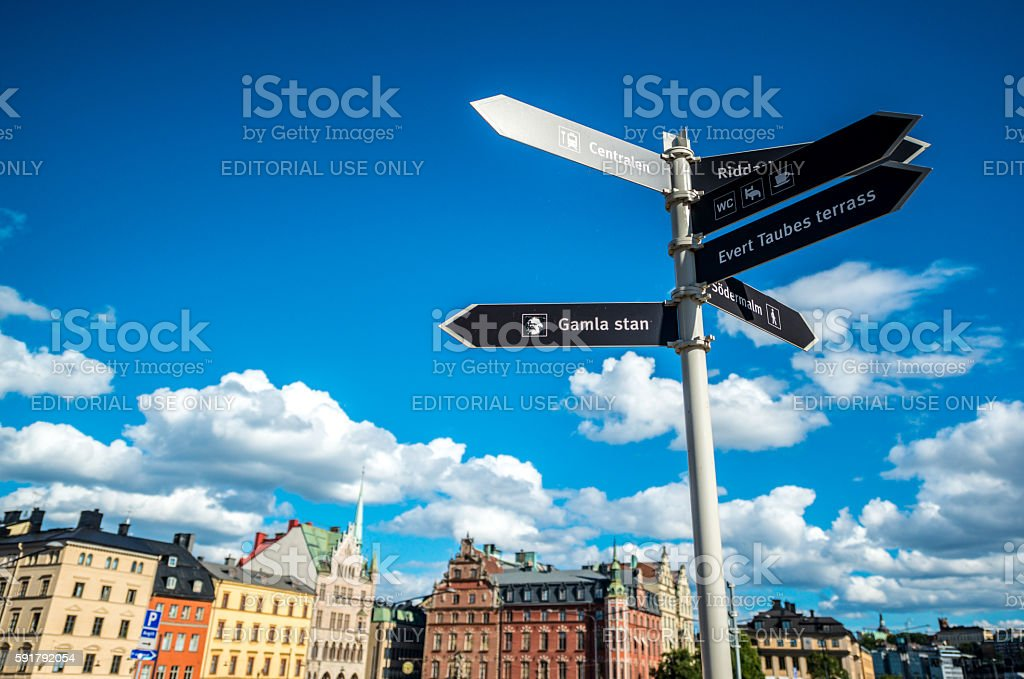 Directional sign for tourists in Stockholm, Sweden stock photo