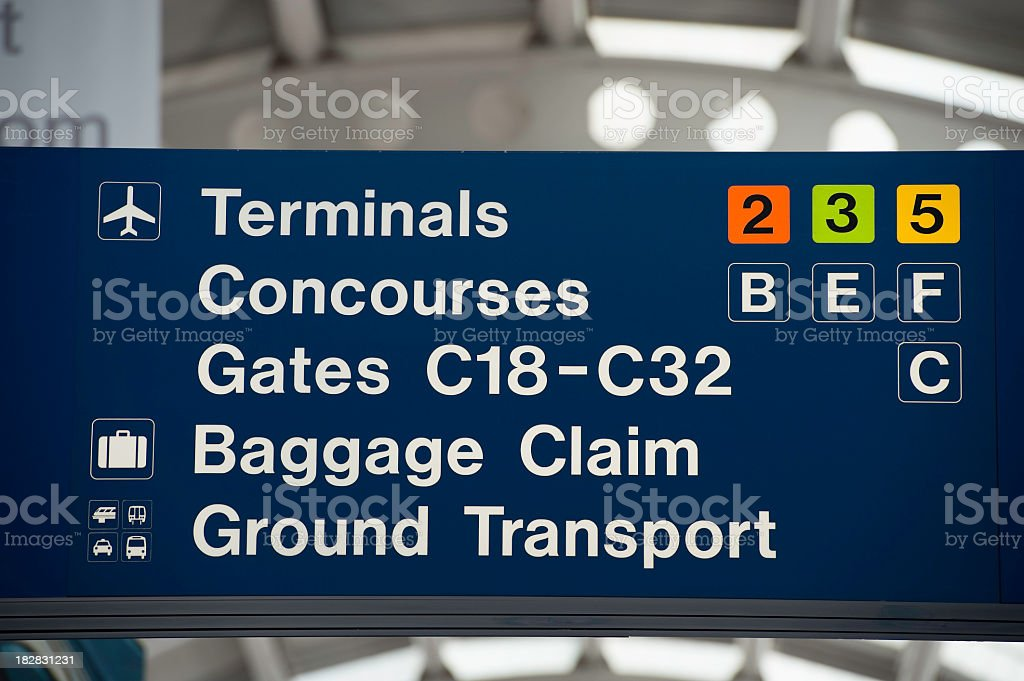 Directional Sign in Airport royalty-free stock photo