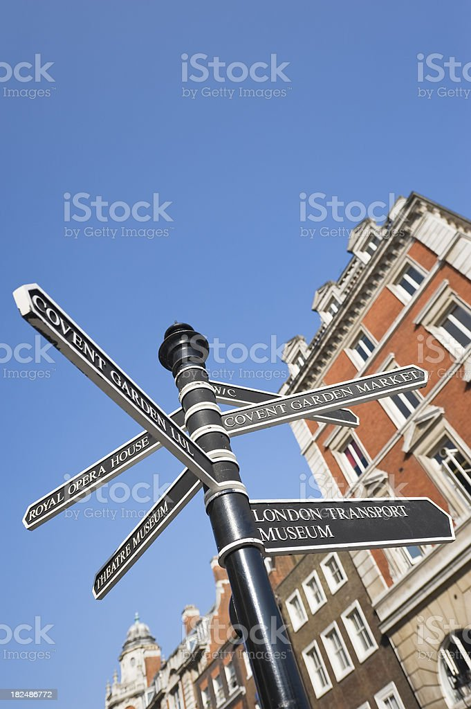 Directional sign in Covent Garden, London royalty-free stock photo