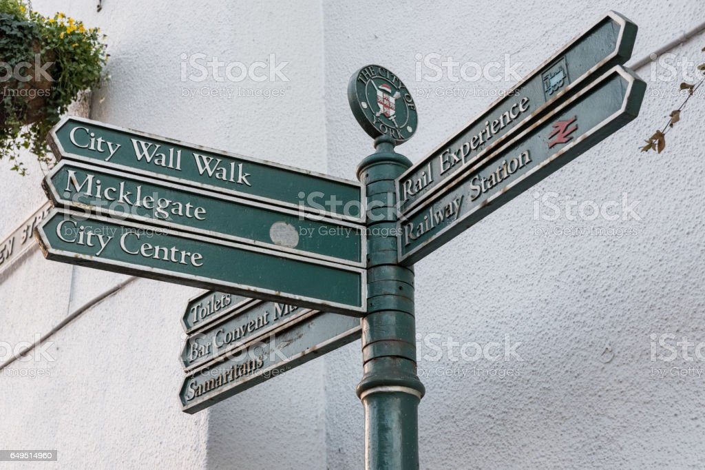Directional Sign in York, United Kingdom stock photo