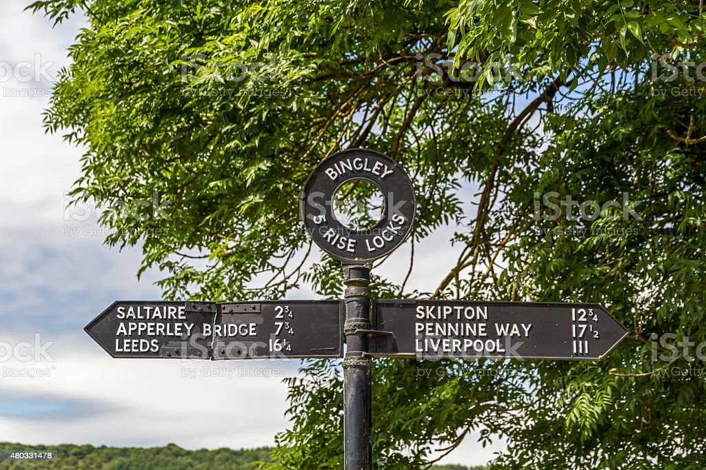 Directional Sign Leeds and Liverpool Canal stock photo