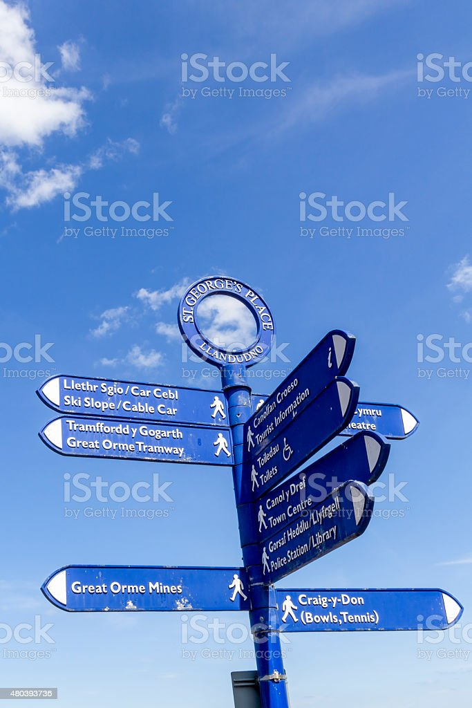 Directional Sign Llandudno North Wales stock photo