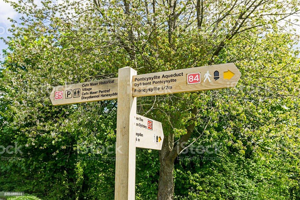 Directional Sign Llangollen. stock photo