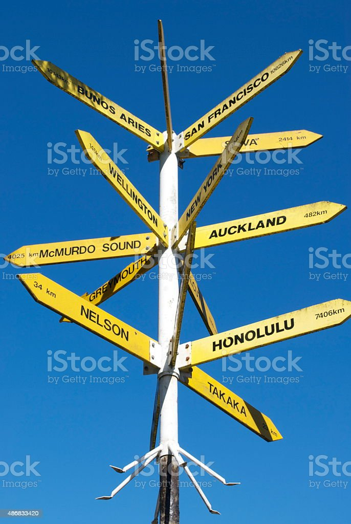 Directional Sign, New Zealand stock photo