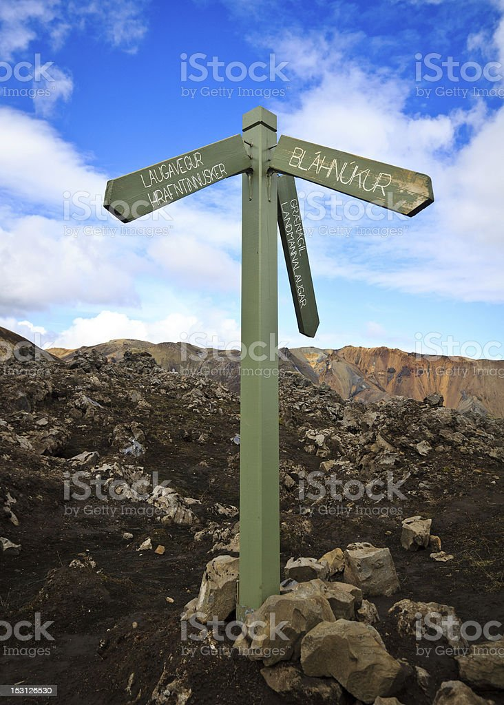 Directional sign post in Landmannalaugar, Iceland royalty-free stock photo