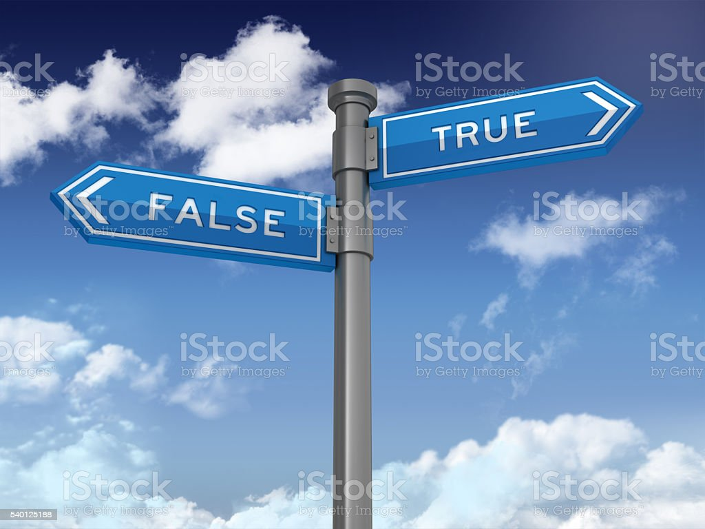 Directional Sign Series: FALSE TRUE stock photo