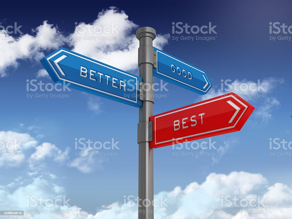 Directional Sign Series: GOOD BETTER BEST stock photo