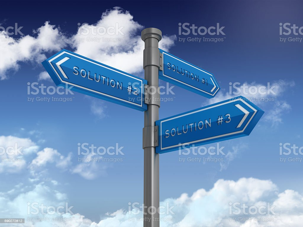 Directional Sign Series:  SOLUTIONS stock photo