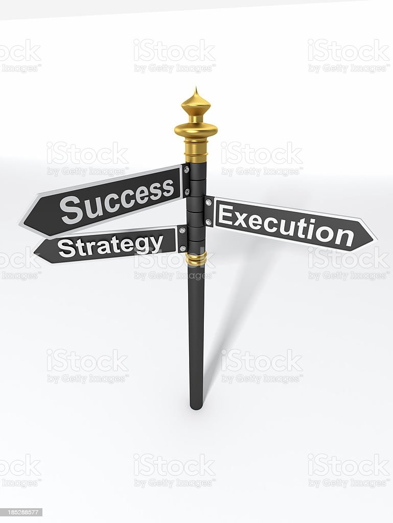 Directional Sign Strategy, Execution, and Success stock photo
