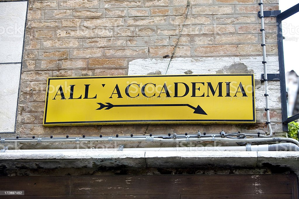 Directional Sign to Accademia Bridge Venice royalty-free stock photo