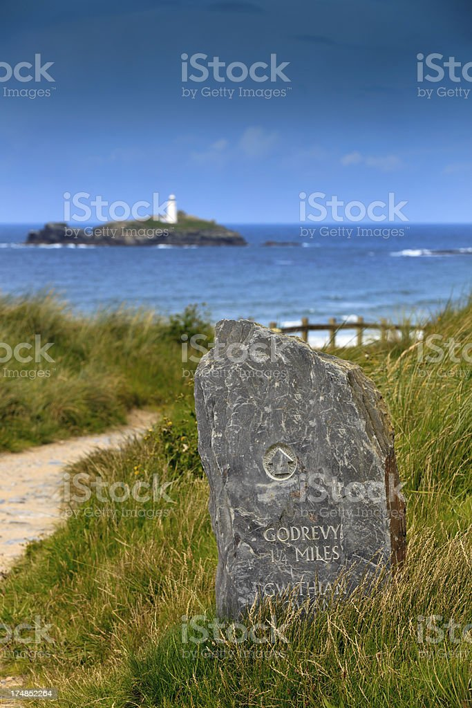 directional sign to Godrevy Lighthouse in Cornwall stock photo