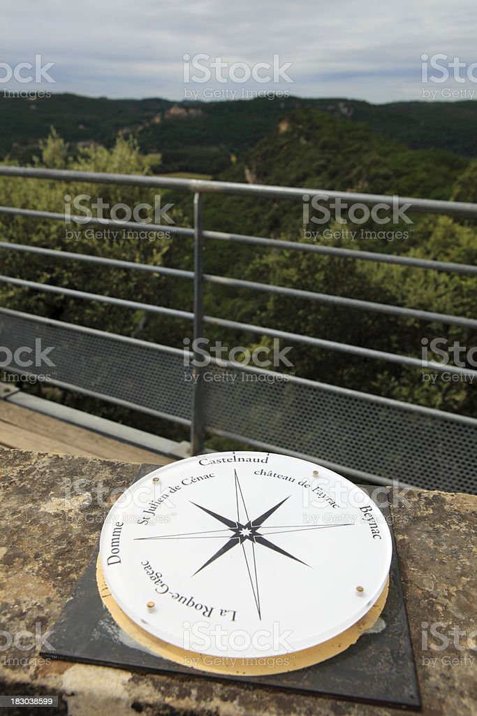 directional sign to villages and sights along the Dordogne river stock photo