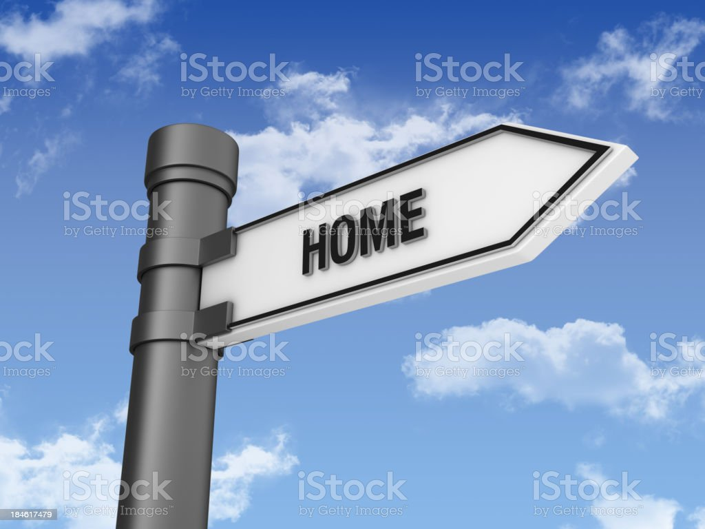 Directional Sign with HOME and Sky royalty-free stock photo