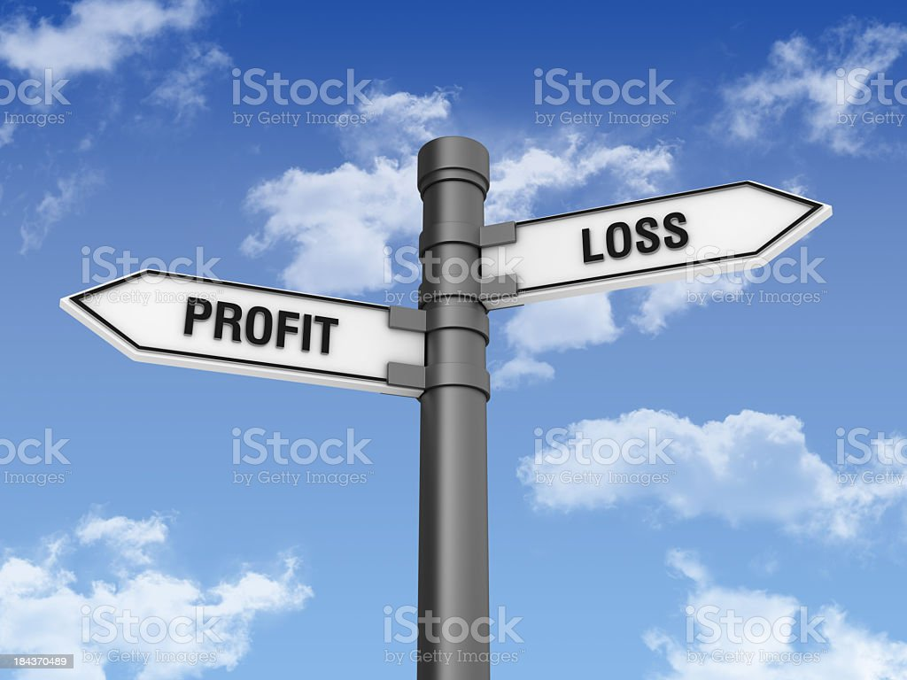 Directional Sign with Loss Profit  Words stock photo
