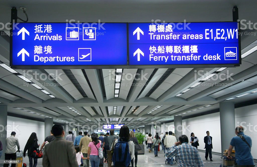 Directional Signs At Airport Concourse royalty-free stock photo
