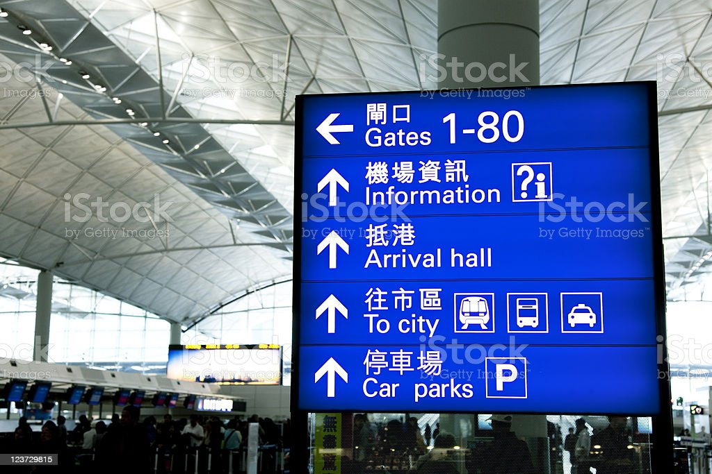 Directional Signs At Airport stock photo