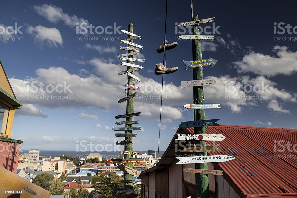 A directional signs on a posts in Punta Arenas stock photo