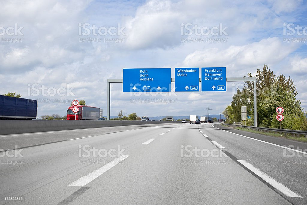 Directional signs on german highway stock photo
