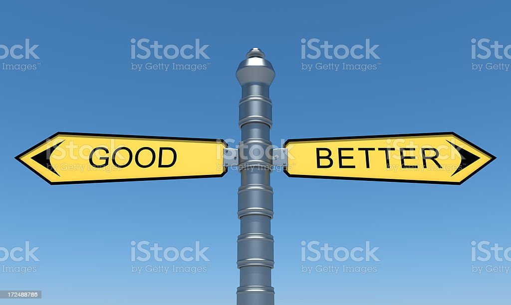 Directional yellow signs good and better royalty-free stock photo