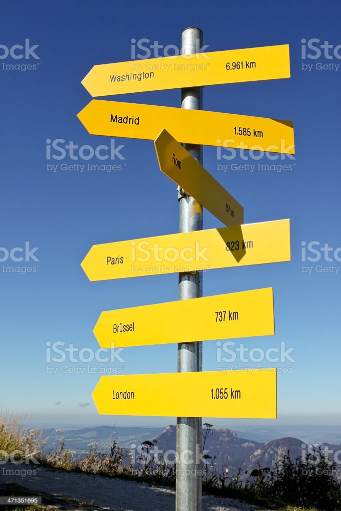 directions and distances sign in austrian Alps, Salzburg stock photo