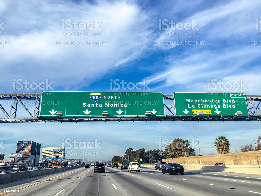 Directions on a highway, California, USA stock photo