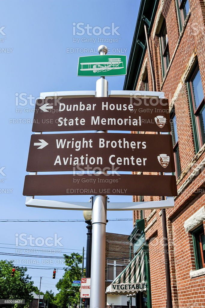 Directions signpost to the Wright Brothers sites in Dayton Ohio stock photo