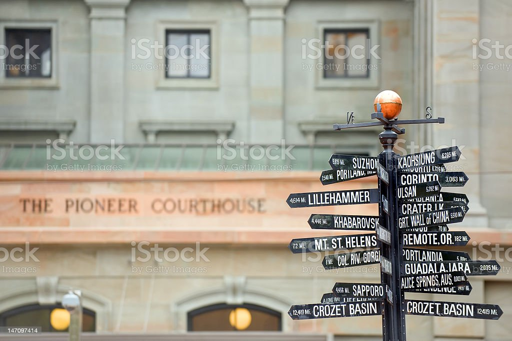 Directions to landmarks stock photo