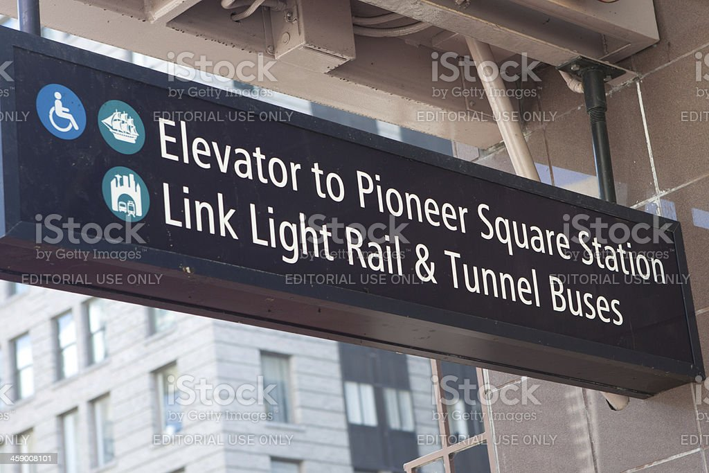 Directions to Pioneer Square Station royalty-free stock photo