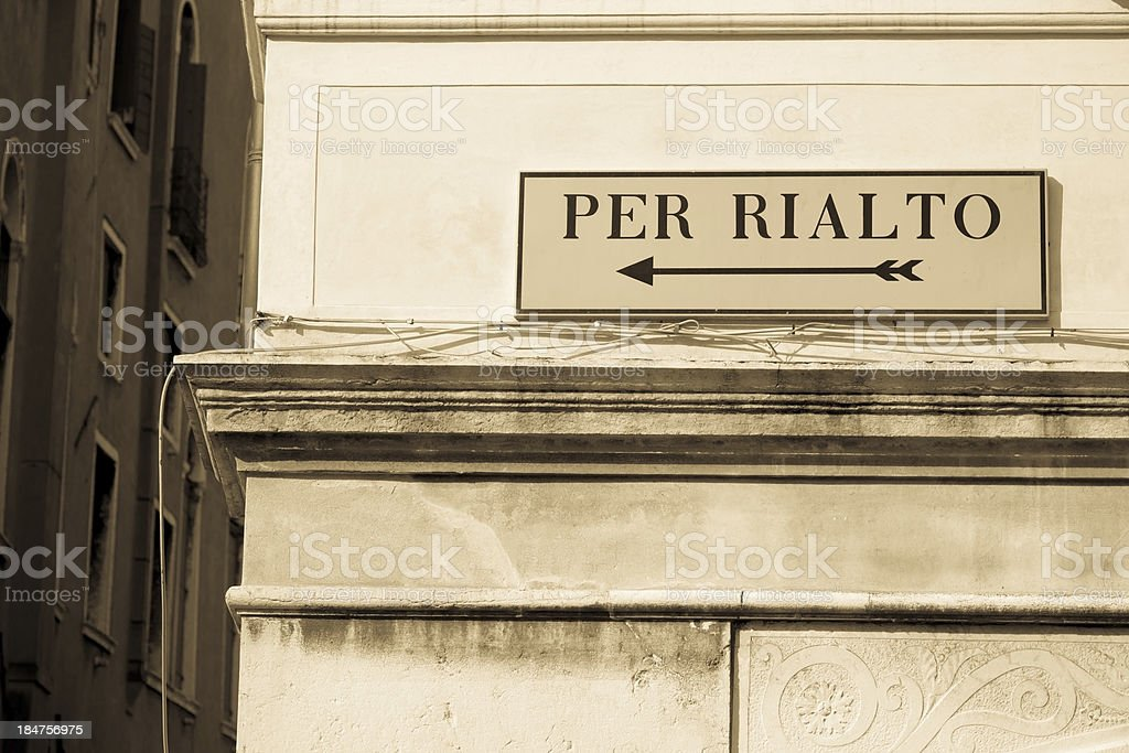 Directions to Rialto stock photo