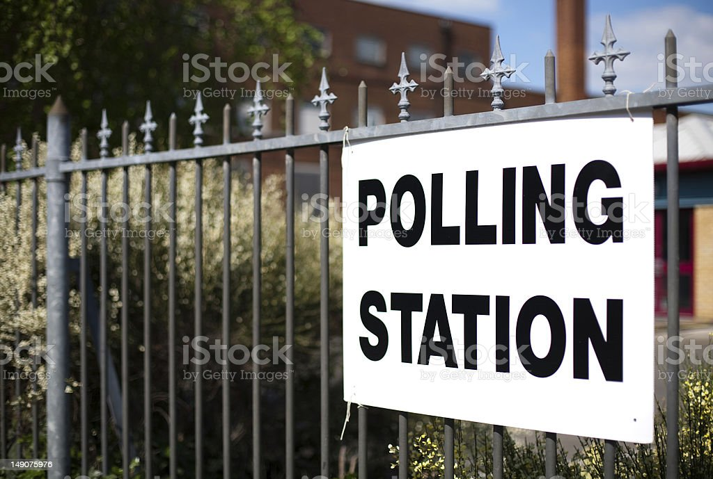 Directions to UK polling station stock photo
