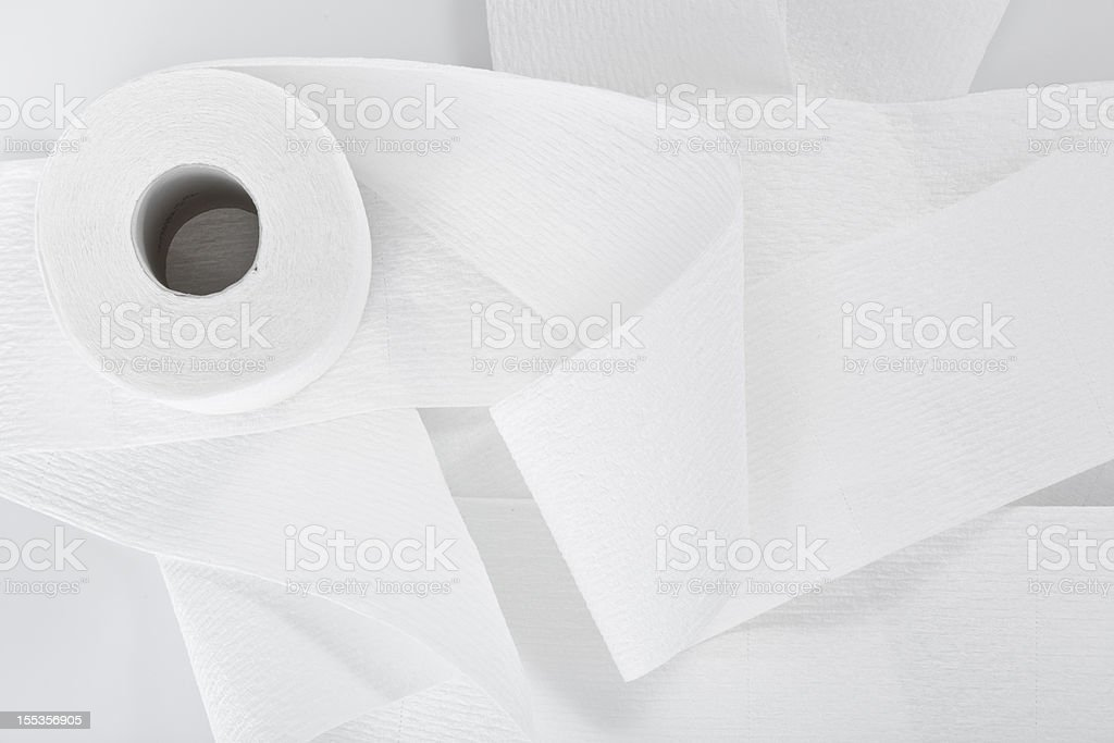 Directly above a roll of toilet paper isolated on white stock photo