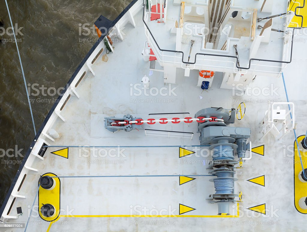 Directly above bow of a moored ship stock photo