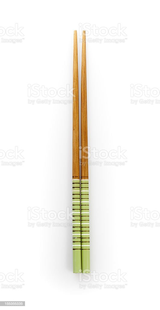Directly above chopsticks isolated on white stock photo