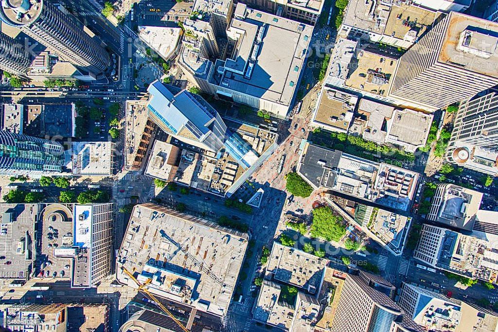 Directly Above Seattle's Downtown Westlake Center stock photo