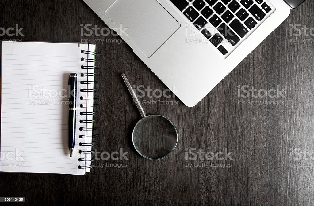 Directly above shot of office supplies on table stock photo