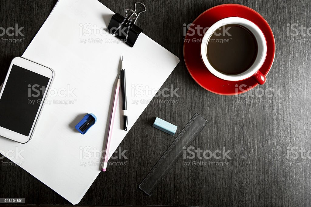 Directly above shot of office supplies on the table stock photo
